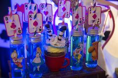 Alice in Wonderland birthday party drinks! See more party planning ideas at CatchMyParty.com!