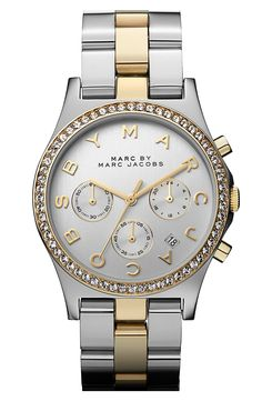 MARC BY MARC JACOBS 'Henry' Chronograph & Crystal Topring Watch