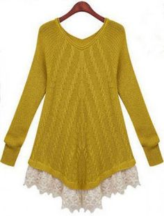 Yellow Long Sleeve Contrast Lace Sweater pictures