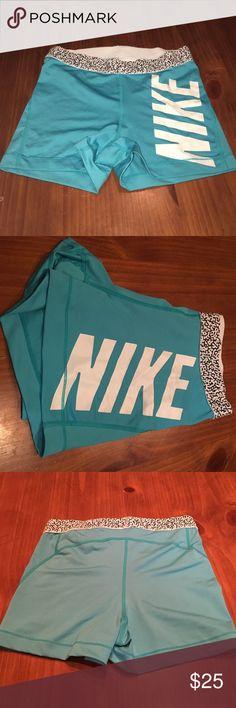 Nike Spandex Never worn! Nike spandex shorts. Aqua blue. No wear or tear. Nike Shorts