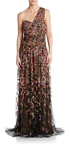 Marchesa | Floral Embroidered Draped Tulle Empire Gown | SAKS OFF 5TH