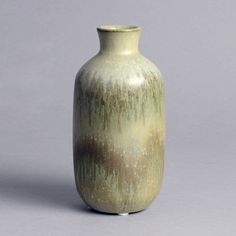 """Christian Poulsen for Bing and Grondahl, Denmark Unique stoneware vase with gray crystalline glaze, c. Height 6 cm) Width 3 cm) Incised """"CHR-P"""", Painted B&G stampMore items by Christian PoulsenMore Bing & Grondahl"""