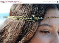 SALE Chain Headpiece Boho Head Jewelry Bohemian Headband Headdress Gypsy Jewelry Chic Bohemian  Hair Jewelry Mara Twirl