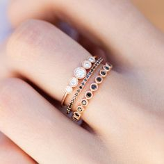14kt rose gold and black diamond medium bezel ballerina ring – Luna Skye by Samantha Conn