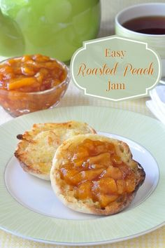 Easy Roasted Peach Jam - a super simple, 3 ingredient jam that you make in the oven, reducing and intensifying the flavour of the fruit as it roasts.