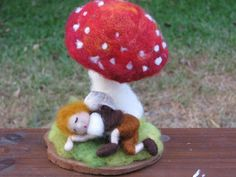 Needle felted sleeping snail boy home decor by Made4uByMagic