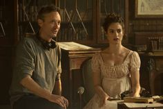Director Burr Steers and Lily James on the set of Pride and Prejudice and Zombies