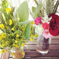 garden table with fresh flowers for the party