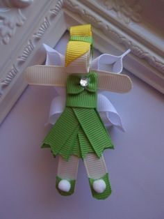 Tinkerbell Ribbon Sculpture Hair Clip. Tinkerbell Hair Clip. Fairy Hair Clip. Tinkerbell Fairy