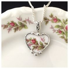 Broken china jewelry china heart pendant necklace antique Haviland... ($80) ❤ liked on Polyvore featuring jewelry and pendants