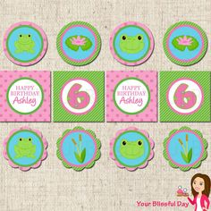 PRINTABLE Girl Frog Party Circles (Personalized)