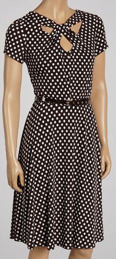 Brown  Ivory Cutout Dress