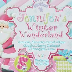 Just adding crystals or glitter to Santa's hat is a fast and easy way to make your invitation pop! Only costs about $5-$9 to give all your invitations that boutique look! Princess Birthday Invitations, Santa Hat, Winter Wonderland, Rsvp, Snowflakes, Etsy Seller, Glitter, Make It Yourself, Boutique