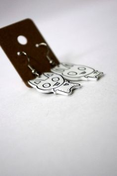 Rabbit Shrink Plastic Earrings by Cyclop on Etsy, $12.00