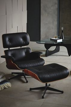 """vividessentials: """"MLF® Plywood Eames Lounge Chair & Ottoman in Premium Top Leather(Black, Aniline Leather, Palisander) on Amazon • Fits perfectly in sitting room, study room, leisure area, bedroom,..."""