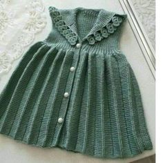Pleated Flower Decorated Children's Gilet 3 Age - Crochet Knit Baby Dress, Baby Cardigan, Knitting For Kids, Baby Knitting Patterns, Alter Pullover, Fabric Christmas Ornaments, Clay Ornaments, Angel Ornaments, Vintage Ornaments