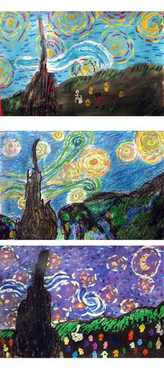 starry starry night with oil pastels and watercolor