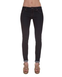 """Railed Legging - The Railed Legging offers a hot jean look with the fit of a legging. Has a narrow 10"""" leg opening. Broken back yoke detail plus logo metal hardware make this pant unique. Also has a buckle button at center and an aged logo'd patch plus the fit description is screenprinted at interior waistband. Clean back pocket features a 0,75"""" Stone embroidery. Inseam is 28"""" and 32""""."""