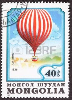 Mongolian air mail stamp commemorating Charles Green photo