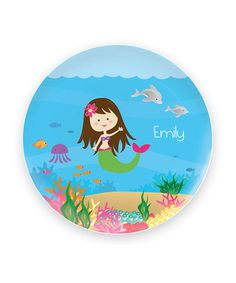 Take a look at this Brown-Haired Mermaid Personalized Plate by Spark & Spark on #zulily today!