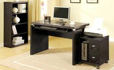 Black Computer Desk Workstation Student Study Table PC Table Top Den Home Office for sale online Modern Home Office Furniture, Modern Office Desk, Home Office Desks, Modular Office, Office Workspace, Small Office, Desk With Keyboard Tray, Wood Computer Desk, Wood Desk