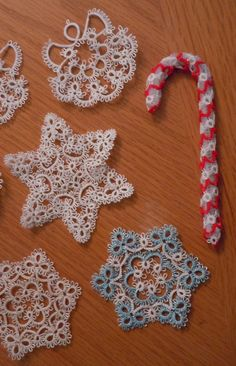 PATTERN  BOOK - -  7 Tatted CHRISTMAS Ornament Patterns -- Tatting Patterns I created via Etsy