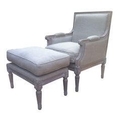 Shabby-Chic-Armchair-with-Footstool-in-Gustavian-design-Ash-finish