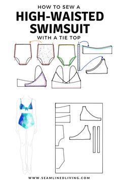 How to Sew a High-Waisted Swimsuit - DIY Bikini Pattern #swimwear #diyswim #sewingpattern