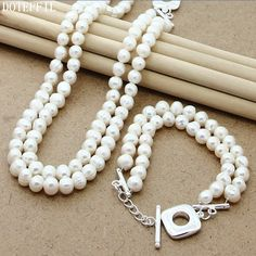 Fashion Double Pearl Necklace Bracelet Women 925 Silver Charm Jewelry Natural Freshwater Pearls Necklace Bracelet Set