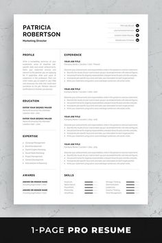 Professional resume / CV template set with one-page resume, cover letter and references in matching designs for a complete and consistent presentation. One Page Resume Template, Modern Resume Template, Business Plan Template, Creative Resume Templates, Professional Resume Template, Professional Cv, Cv Original, Cv Words, Resume References