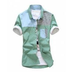 Korean Style Shirt Collar Stains Print Stripes Splicing Short Sleeves Cotton Shirt For Men