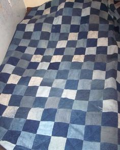Denim quilt - my grandma made a denim quilt for my son using dad, grandpa, great-grandpa, etc... old jeans.  Each of the men signed one of their quilt squares.