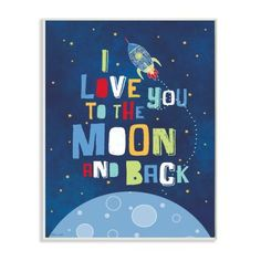 Buy Stupell Industries I Love You Moon and Back Rocket Ship Wall Plaque at Walmart.com