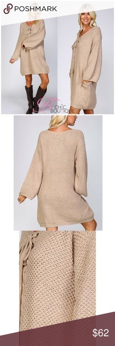 🆕 Chunky Knit Crochet Sweater Dress Chunky knit crochet sweater dress Lace up front with 8 grommets Side seam pockets on either side Extra wide body Drop shoulders with extra wide bishop style sleeves 100% acrylic Bchic Dresses