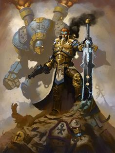 Take a look at this steam-powered golem and pistol-wielding, brass-armored knight (apparently from a miniatures game called Warmachine). http://conceptvault.tumblr.com/post/10403639540/coleman-stryker-from-the-upcoming-warmachine