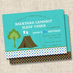 Backyard Campout Sleep Under Custom Birthday Party Invitation at www.TintsAndPrints.etsy.com