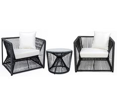 Ce salon de jardin fil noir et blanc Rio 2 places et coussin ivoire apporte  une 32ca8972f9c2