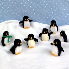 TINY PENGUINS: These little penguins are very quick and easy to knit and every one will have its own character with a different facial expression. They are the perfect size to decorate the Christmas tree and display on a shelf.   The pattern is $3.01 on love knitting.com  SIZE: 5cm (2in).  NEEDLES: Pair of 2.75mm needles (US 2). YARN: Very small amounts of double knitting yarn in black, white and golden yellow. (US use light worsted, Australia 8 ply)