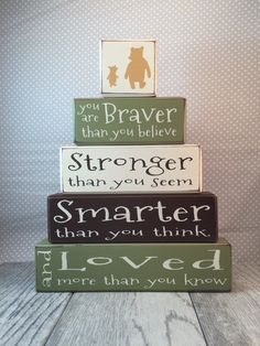 Classic winnie the pooh disney stacking wood blocks baby gift classic winnie the pooh disney stacking wood blocks baby gift personalized baby gift centerpiece baby shower gift distressed wood blocks on etsy negle Image collections