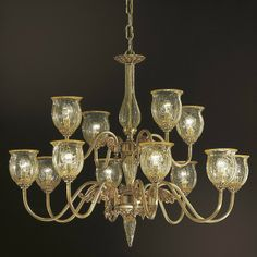 Two tier 12 lights chandelier lights + 4 lights), made from amber crackle glass shades and metallic structure finished in French gold or antique brass. Crackle Glass, Timeless Classic, Chandelier Lighting, Pendant Lamp, Glass Shades, Lighting Design, Antique Brass, Pendants, Ceiling Lights