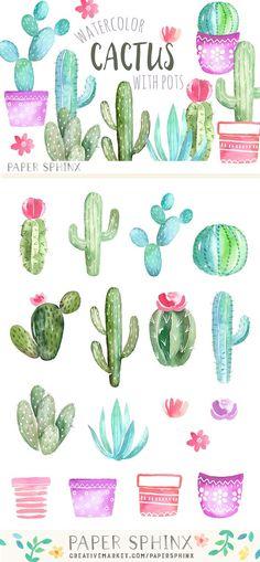 Watercolor Cactus Graphic Pack  @creativework247