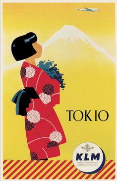Tokyo, Japan - KLM Airlines vintage travel poster