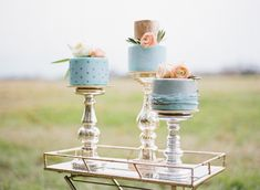 Cakes by Sweet Tooth Cakery. Design/Styling- Ever After Vintage Weddings. Emily Katharine Photography. See more @intimateweddings.com #engagementshoot #cakes #blue