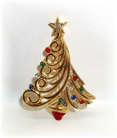 JJ modern Xmas Christmas Tree pin brooch Jonette Jewelry