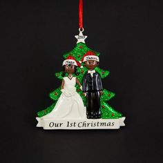 Off Shipping on or More Items Worldwide ------------------------------------------------------- Beautiful Hand Crafted Just Married Couple themed Christmas Tree Ornaments. I will hand-personalize your ornaments in permanent black ink Christmas Tree Themes, 1st Christmas, Christmas Tree Ornaments, Personalized Christmas Ornaments, Handmade Ornaments, Holiday Gifts, Christmas Gifts, Couple, Bride Groom