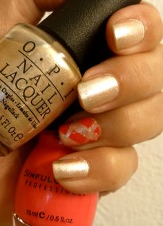 O.P.I. Upfront & Personal with accent color Sinful Colors Neon Pink...