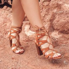 {Desert Dreamin' | Simply Audree Kate} Camel colored lace up chunky heels