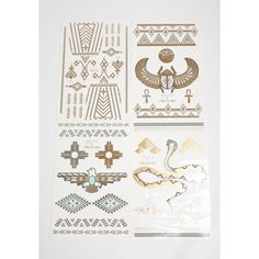 Flash Tattos x Child of Wild Desert Dweller Metallic Temporary Tattoos ($20) ❤ liked on Polyvore featuring accessories and body art