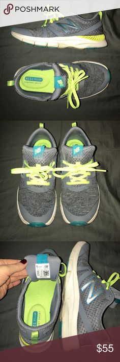 New Balance 715 Cush + Heather grey with teal and neon yellow/lime accents. Heel pillow comfort insert. Incredibly comfortable! Worn a few times to the gym but over all not worn in at all and in good condition. New Balance Shoes Athletic Shoes