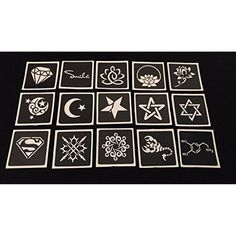 15pc Small Mixed Variety GLITTER TATTOO STENCIL SET For Henna Airbrush Facepaint * Check out the image by visiting the link. (This is an affiliate link) #HennaBodyPaint
